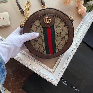 NEW Gucci Ophidia GG Supreme Round Mini Bag phec